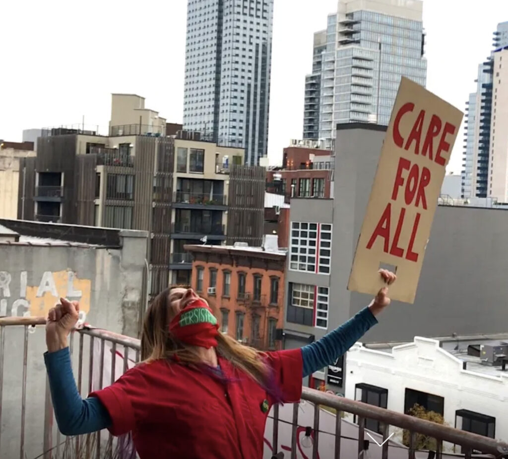 woman on balcony care for all